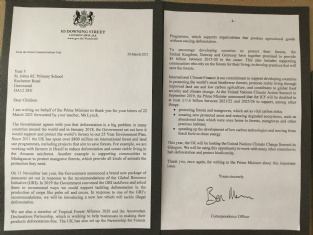 Year 3 receive a letter from Downing street!
